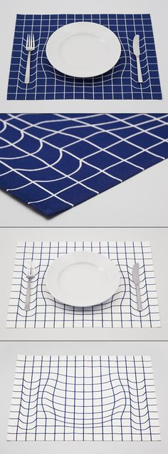 Japanese design studio A.Works playfully mimics the imagery of Albert Einstein's space-time fabric theory with this mind-bending placemat. By warping the grid pattern, the trick mat creates the illu(Need To Try Design Studios) Japan Design, Space Time, Deco Design, Op Art, Cool Stuff, Creative Design, Packaging Design, Illusions, Cool Designs