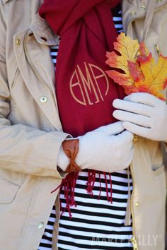 Ready for colder weather with a Monogrammed Scarf & Glove Set from Marleylilly!