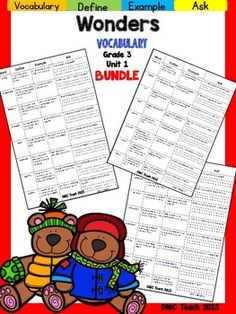 This 3rd grade Vocabulary Routine is aligned toMcGraw Hill Wonders for Grade 3, Unit 1 (Weeks 1-5) It contains all vocabulary words, definitions, examples, and a question for students to respond.This is a great way to reinforce weekly vocabulary words for homework or during independent centers.