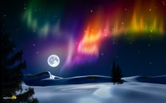 Aurora and a full moon. What a combination.
