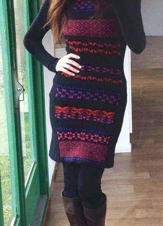 #wełniana #sukienka #golf #sweter #wzór
