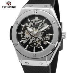 Forsining Men's Watch  Crystal Automatic Movement Unique Skeleton Rubber Band Military  Wristwatches Color Black FSG8107M3S1-2 //Price: $40.00 & FREE Shipping //     #VAPE