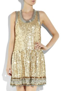 Red Valentino gold sequin and tulle drop-waist tank dress