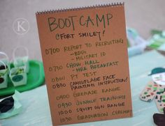 Cute birthday party idea :) A little kids Army Boot Camp!