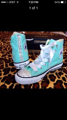 a18642839934 SALE Tiffany Blue Converse High Top with Rhinestones and Ribbon Shoelaces  Women Size 8 by ConverseCustomized on Etsy