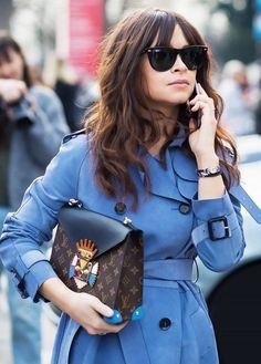 Miroslava Duma street chic with Louis Vuitton handbag. #miroslavaduma
