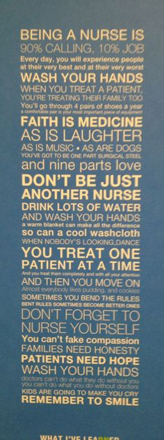 Wisdom for nurses. Wah your hands!