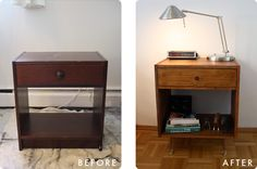IKEA Hackers: Childhood Nightstand Goes Mid-Century-- This is how I am going to get my vintage furniture look without the vintage furniture price