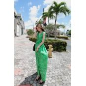 $12.99 Fashion V Neck Sleeveless Green Waist Skirt Ankle Length Dress