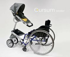 Unfortunately there aren't many products available to help wheelchair users and their babies get about. To solve this dilemma, Swedish industrial design student Cindy Sjöblom created the Cursum. A baby stroller specifically designed to attach and work wi Wheelchair Accessories, Adaptive Equipment, Mobility Aids, Assistive Technology, Prams, Special Needs, Disability, Baby Strollers, Parents