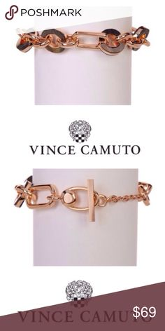 """Smoke & Mirrors Rose Gold Bracelet by Vince Camuto Vince Camuto Rose Gold-tone chain link bracelet with smoky haze outer ring on round links. Toggle closure, 7"""" bracelet with 2"""" extension.  materials: butterfly shell and zinc NWT Vince Camuto Jewelry Bracelets"""
