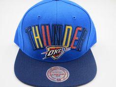 newest a9817 e471f OKC Oklahoma Thunder Blue Throwback Mitchell   Ness NBA Snapback Hat Cap