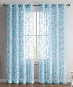 Loving this Aqua Ella Sheer Jacquard Curtain Panel - Set of Two on #zulily! #zulilyfinds