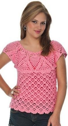 Simple Crochet Top - Free Crochet Diagram - (clubmasteric) round yoke top with pineapple stitches, and block and chain lace stitches for the body. Pull Crochet, Love Crochet, Beautiful Crochet, Diy Crochet, Simple Crochet, Crochet Girls, Crochet Tops, Black Crochet Dress, Crochet Cardigan