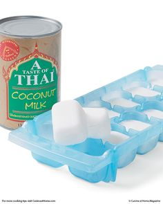 Canned coconut milk spoils quickly, so pour whatever you don't use into ice cube trays and freeze. Once frozen, pop them out and store in a freezer bag. Add the cubes to the blender when making fruit Thai Coconut Milk, Coconut Milk Recipes, Canned Coconut Milk, Scd Recipes, Coconut Milk In Coffee, Coconut Milk Smoothie, Recipies, Fruit Smoothies, Healthy Smoothies