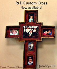 red custom barnwood cross frame