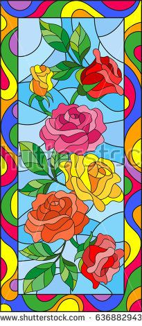 Illustration in stained glass style with flowers and leaves of rose in a bright frame,vertical orientation