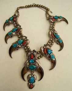 Necklace | Artist ?.  Silver, turquoise, coral and bears claws.  {Does anyone know the artist ?}