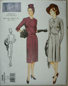 Vogue Vintage Reprint Original Design 1943 pattern Size 6-10 Uncut #VoguePatterns
