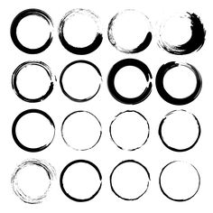 Vector set of grunge circle brush - Objects - 1