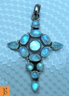 DIVINE HOLY CROSS RAINBOW MOONSTONE .925 STERLING SILVER PENDANT P0071