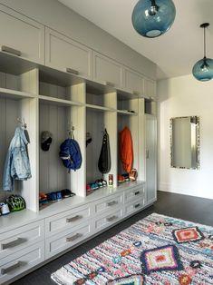 30 Mudroom Storage and Decorating Ideas - Popular Mudroom Cubbies, Mudroom Laundry Room, Laundry Room Design, Mudroom Storage Ideas, Mud Room Lockers, Closet Mudroom, Mudroom Cabinets, Shoe Storage, Room Organization