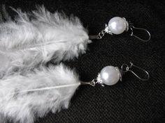 Simple beaded feather earrings white by KatKeRosCorner on Etsy, $15.00
