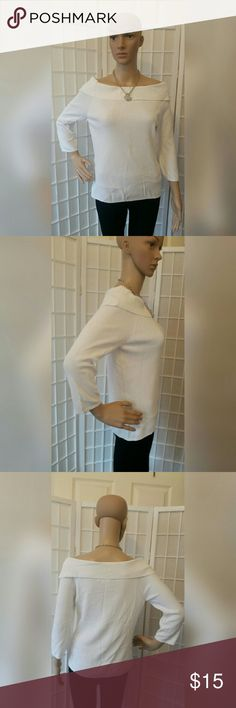 White off shoulder top shirt White off shoulder top shirt  Great condition no flaws   Material content  65% viscose 35% nylon  Measurements approx. Shoulder 31in across Chest 34in across Sleeve 11in  Length 21in Joseph A. Tops