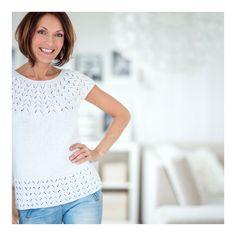 Sommertopp til dame i bomull Nr. V Neck, Knitting, Sweaters, Jackets, Tops, Design, Women, Inspiration, Fashion