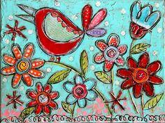 Originales mixtes heureux oiseaux petit jardin Floral par dishyart
