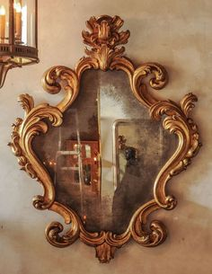 Large 18th Century Italian Baroque Carved Giltwood Mirror: