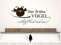 Wandtattoo Wandaufkleber Tattoo für Schlafzimmer Spruch Der frühe Vogel schläft