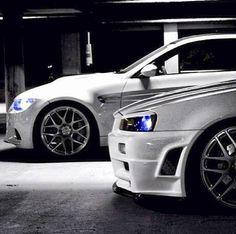 BMW VS. Skyline GTR R34 white