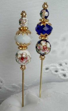 A Lovely Set of 2 Cloisonne Hijab Pins/Hat ♥ by jewels4hijabs