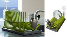 Foldable Dish Rack--this would be perfect for a small kitchen with not a lot of counter space!