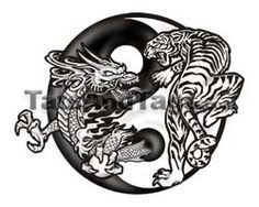 Dragon and Tiger Yin Yang Temporary Tattoo Tattoos by Custom Tags