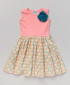 Coral Rosette Little Town A-Line Dress - Infant, Toddler & Girls