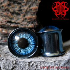 Blue Eyes Ear Plugs gauged ears 00g hand painted Glass. $23.99, via Etsy.