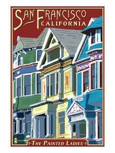 """""""Painted Ladies"""" houses in San Francisco print"""