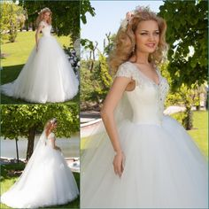 Find More Wedding Dresses Information about Stunning V Neck Cap Sleeves Luxury Crystal Pearls Tulle Ball Gown Wedding Dress Long Tail Lace Up Back Bride Dresses Casamento,High Quality dress up sexy dolls,China dress shirt fabric types Suppliers, Cheap dresses retail from xlbutterfly on Aliexpress.com