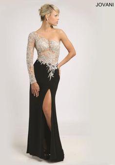 Jovani One Sleeved Beaded Dress 93573