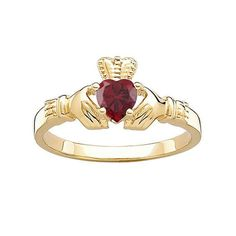 Zales Heart-Shaped Simulated Birthstone Claddagh Ring in Sterling Silver (1 Stone) X6XlzdxP