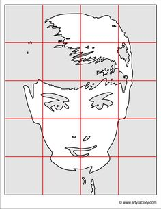 This A3 template image is designed to help you with drawing, tracing or scaling up this Pop Art Portrait. You can also cut the template into its square sections to distribute for our Pop Art Group Project. Right click on the drawing to save, copy or print.