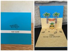 Pop-up Card Lawn fawn life is good / aloha / mermaid for you / pizza my heart / push here