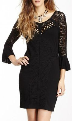Free People Textured Lace Knit Bodycon Dress