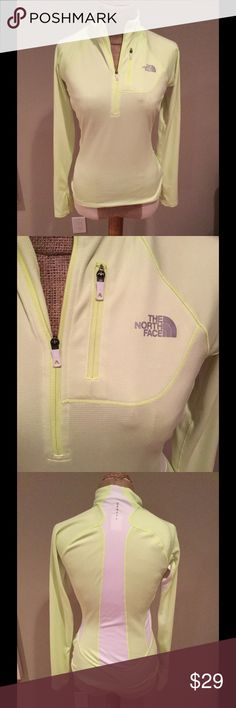 NORTH FACE tech workout 1/4zip neon pullover LStop Great condition! Finger holes, breathable mesh panels. Front zip pocket Flash dry 66% polyester/ 35% recycled polyester 24 in long.17 in armpit to armpit bright neon yellow! Size small. Similar to motivation The North Face Tops Sweatshirts & Hoodies