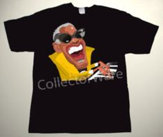 RAY CHARLES cartoon CUSTOM ART UNIQUE T-SHIRT   Each T-shirt is individually hand-painted, a true and unique work of art indeed!  To order this, or design your own custom T-shirt, please contact us at info@collectorware.com, or visit http://www.collectorware.com/tees-ray_charles.htm