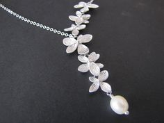 Flower necklace lariat necklace Orchids necklace  by odalisca, $25.50