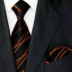 LORENZO CANA Luxury Italian Pure Silk Woven Tie Hanky Set Black Orange Stripes Necktie 8452001