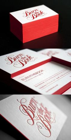 Red Letterpress Cards - These letterpress business cards from Bobbie at Burnthebook, a creative studio in the UK, are all kinds of awesome – from the beautiful logo to the crisp red and white color palette via cardobserver.com